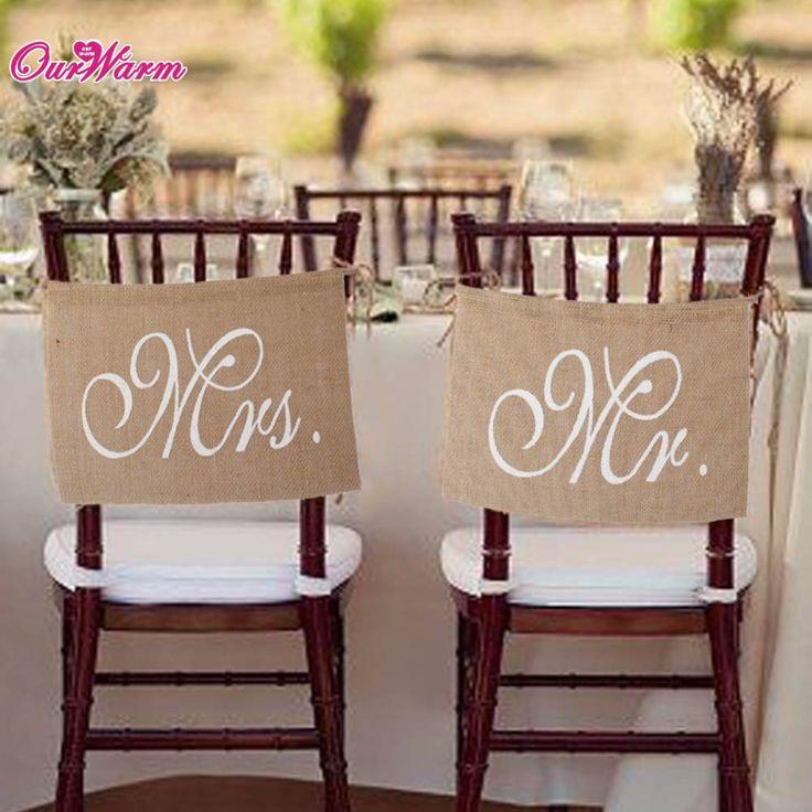 カーキミスター&ミセス黄麻布椅子バナーセット椅子サイン花輪素朴なウェディングパーティーの装飾