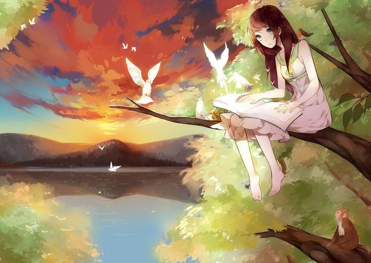 Anime Girl In Tree With Birds Anime Pinterest Trees