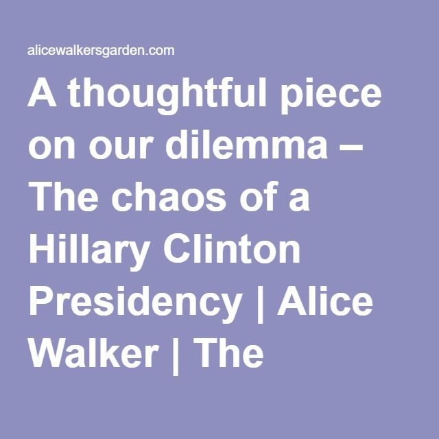 A thoughtful piece on our dilemma – The chaos of a Hillary Clinton Presidency | Alice Walker | The Official Website for the American Novelist & Poet