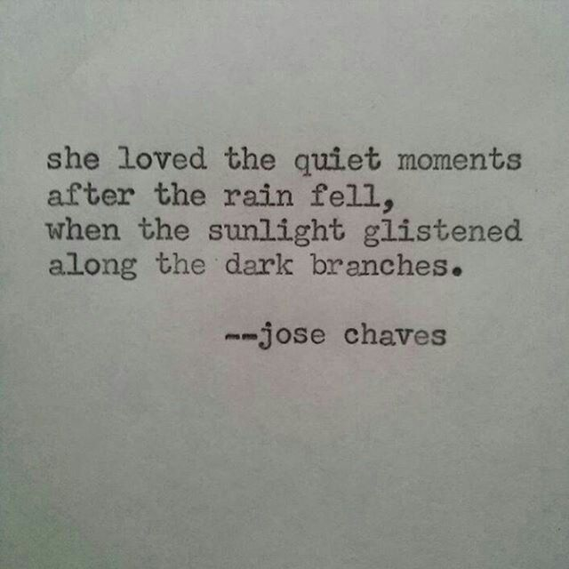 She loved the quiet moments after the rain fell, when the sunlight glistened along the dark branches.