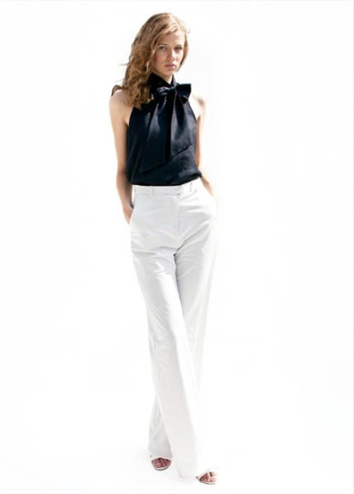 white slacks navy bow blouse, love, except for the high waist.