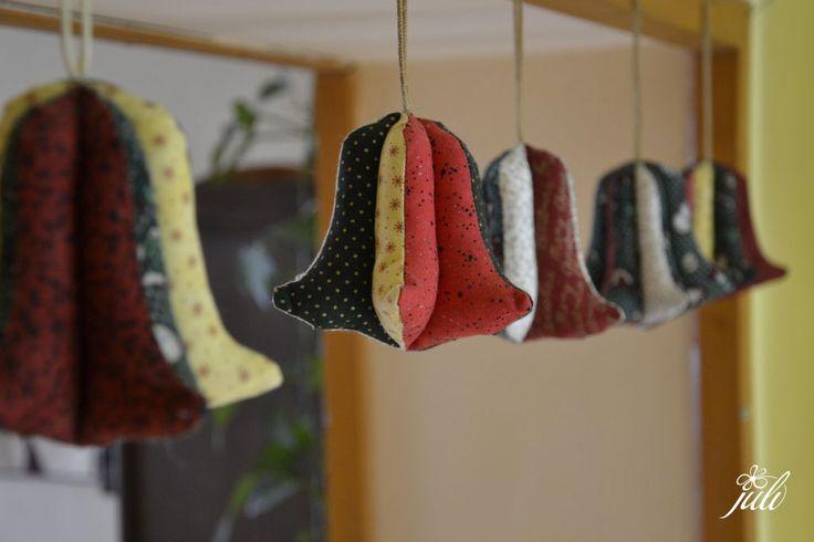 christmas bell - patchwork, zvoncek - vypchaty