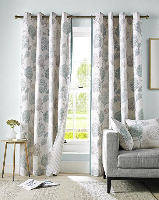 "Duck Egg Blue, Grey and Cream Floral Curtain Pair Contemporary Design Fully Lined Eyelet Header, 117 x 229 cm (46 x 90"")"