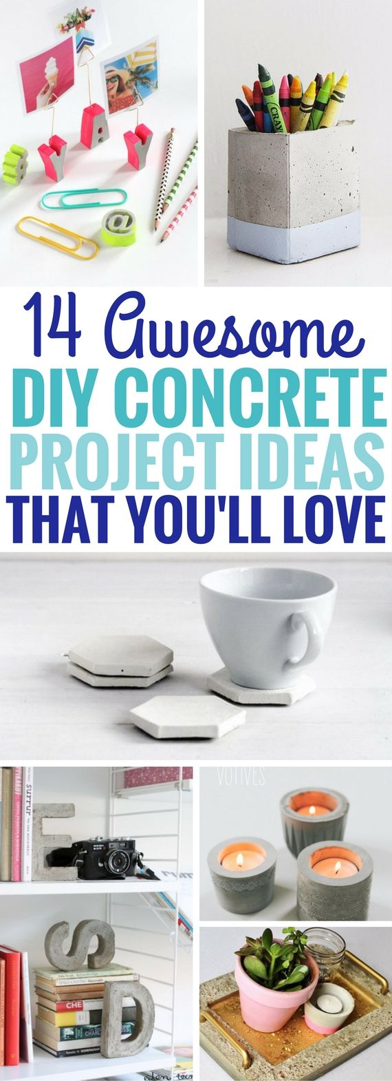 These DIY Concrete Project Ideas are so AMAZING. Seriously, the BEST diy projects I've seen using cement. Number 5 and 6 are so much fun to make! I can't wait to try making the rest of the concrete projects.