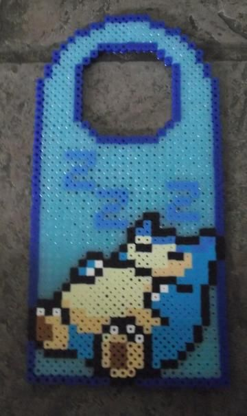 Snorlax Glowing Perler Bead Door Sign perler,hama,square pegboard,video games,nintendo,pokemon,