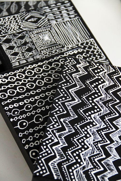 graphic DIY canvas with black paint and correction pen