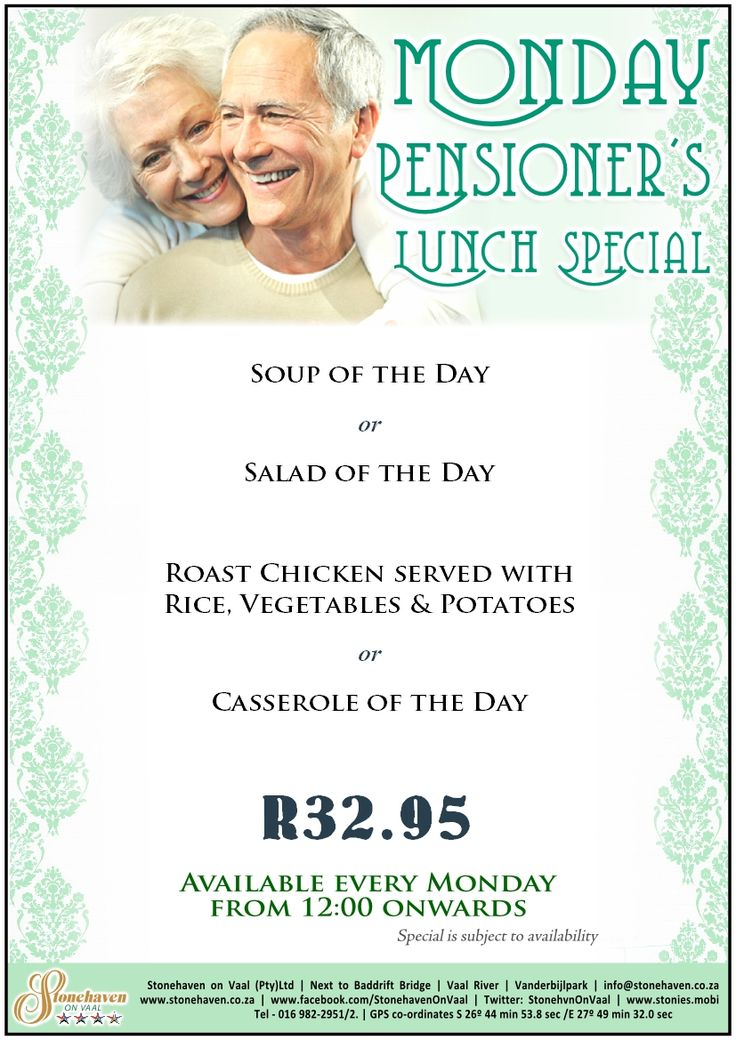 2 course meal for R33? But you have to be a pensioner ;) Take advantage of Stonehaven's Pensioner's Lunch Special every Monday.