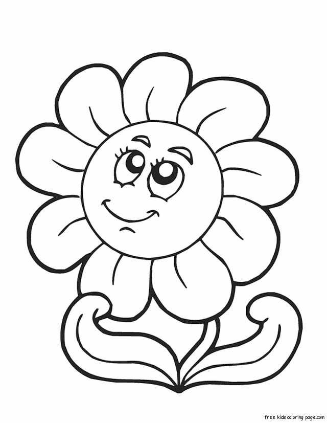 Print Out Spring Happy Face Flower Coloring Page Cartoon Coloring Pages Sunflower Coloring Pages Printable Flower Coloring Pages