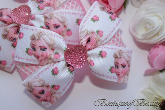 Girl hair bows frozen fever hair bow Pink hair от Boutiqueofbeauty