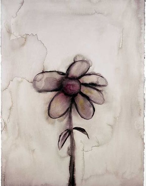 """Grey Daisy  MM: """"Someone said, 'Why don't you ever paint something nice, like a flower?' So I painted one, but I ended up using only the dirty water from another painting. If I wasn't me, I would probably want this one."""""""