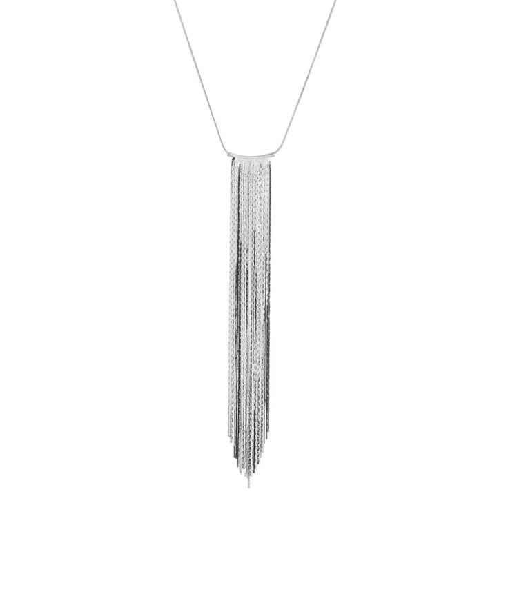 Silver Toned Chunky Necklace With Long Tassels.