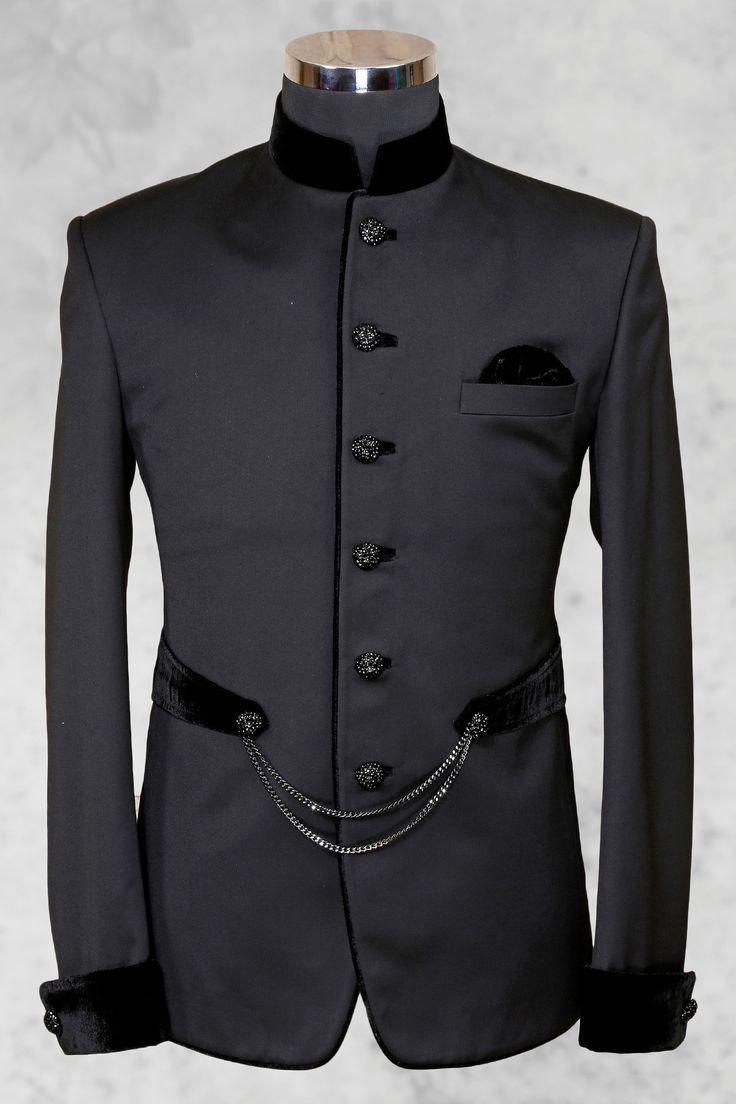 #Greyish black charming #italian suit with bandhgala collar-ST495