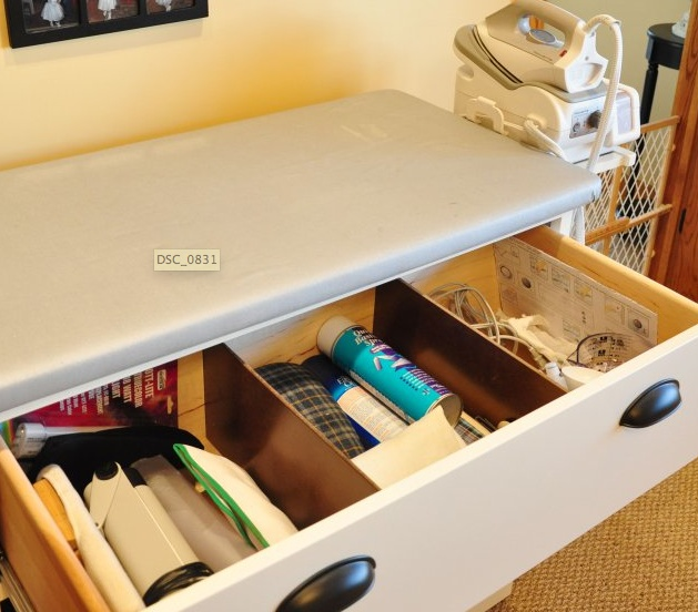 Make an old dresser into an ironing station!