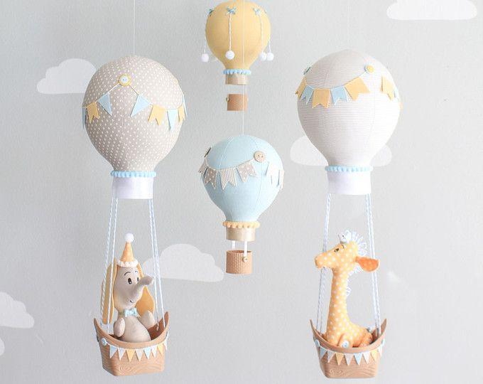 Elefante rosa bebé móvil decoración de cuarto de niños niñas