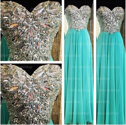 Rhinestone prom dresses, Tiffany blue prom dresses, chiffon prom dresses, 2015 prom dresses, long prom dresses, dresses for prom, CM122