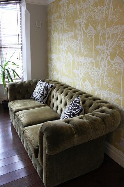 Green Velvet Sofa! Nothing Like A Tufted Sofa...decadent.