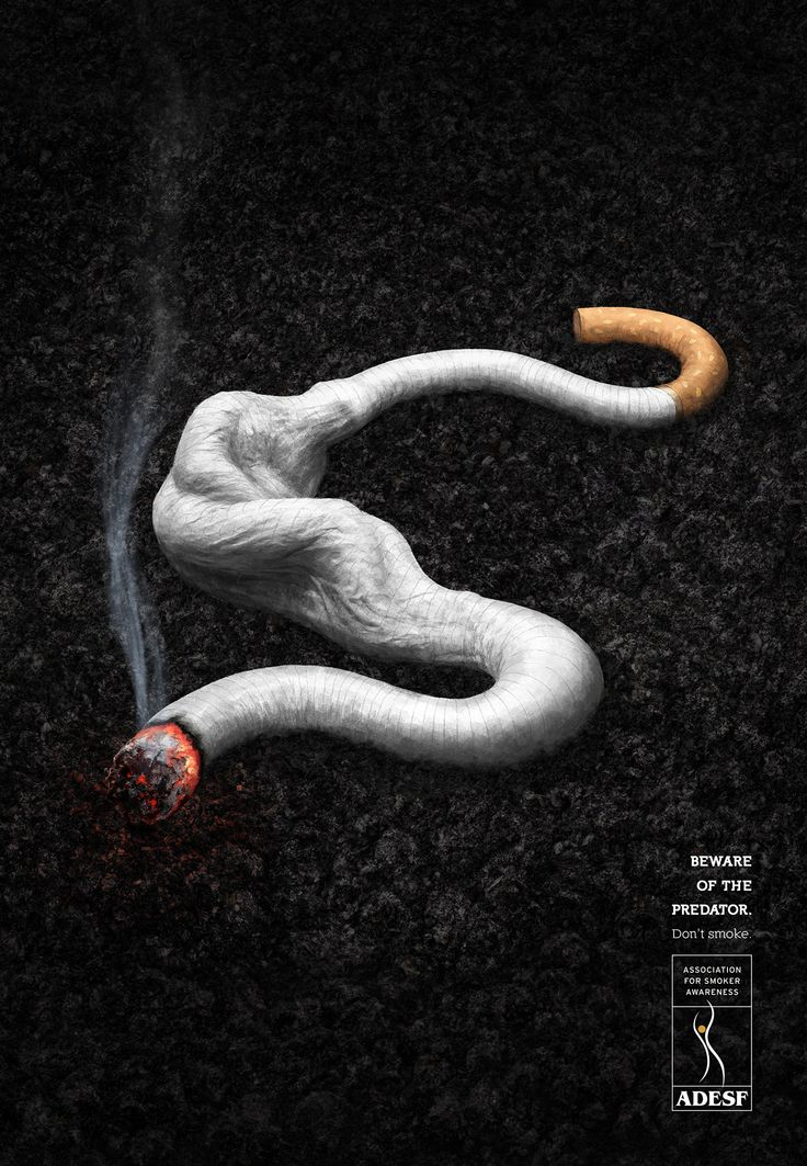 FUMARE ATTACCA GRAVEMENTE LA SALUTE. Illustrazione di Pedro Rosas
