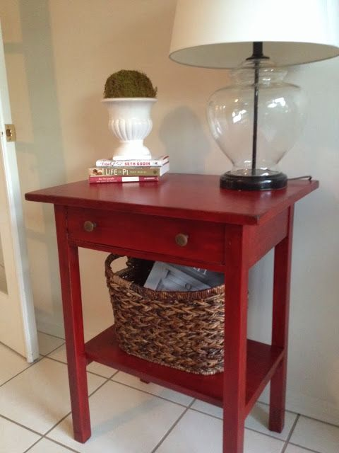 'Antique' painted table using stain over paint. Going to try this on a pink nightstand I have.