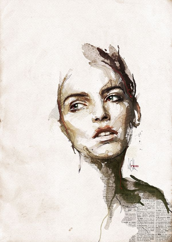 mixed media portrait by Florian Nicolle