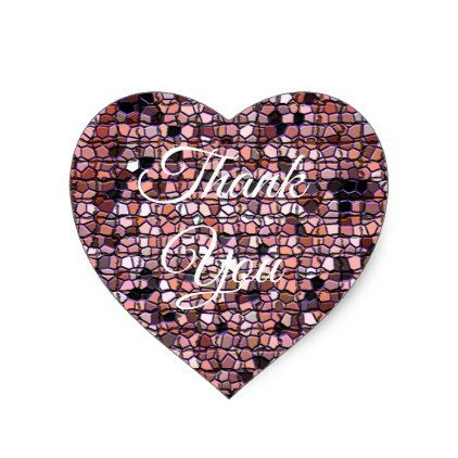 Unique thank you with red mosaic tile pattern heart sticker