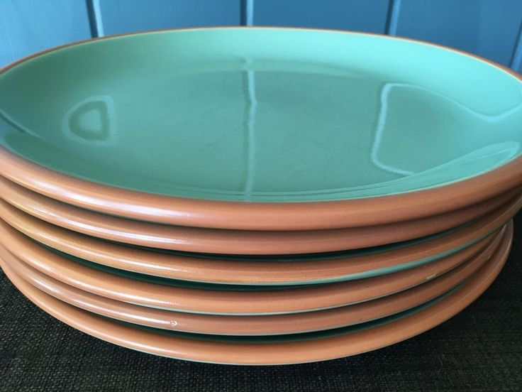 Set Of 6 Bobby Flay Plancha Dinner Plates Turquoise Terra Cotta Trim Stoneware    eBay