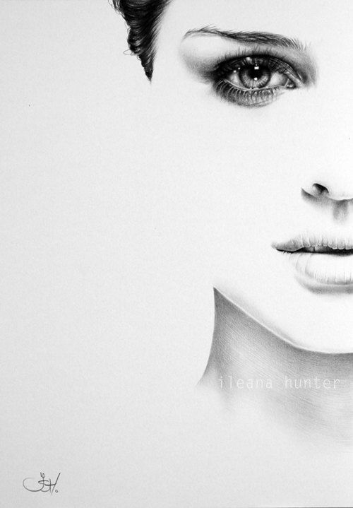 Natalie Portman Minimalismus Bleistift Zeichnung Porträtgemälde Signed Print