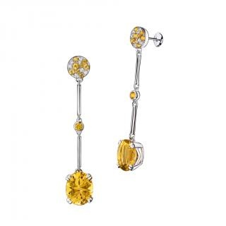 Plaisir d'Amour Earrings  Plaisir d'Amour earrings, 18Kt white gold, Citrine (6,6 ct), yellow sapphires and diamond pavé.