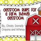 These rules are perfect for any farm themed classroom! The rules included are  -Listen to the Teacher -Make Good Choices -Follow Directions -Raise ...