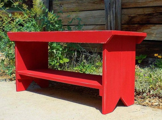 Entryway Wood Bench--RED--Entry Bench, Mudroom Bench, Porch Bench, Primitive Bench, Bench Seating, Kitchen Bench, Bathroom Bench, Farmhouse- on Etsy, $115.95