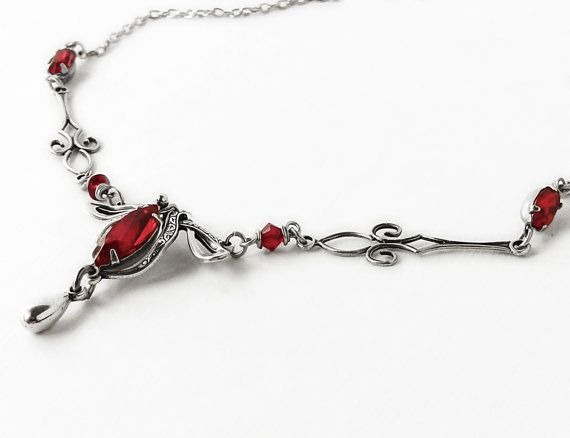 Red Victorian Necklace Silver Swarovski Crystal Victorian Gothic Jewelry on Etsy, $88.18