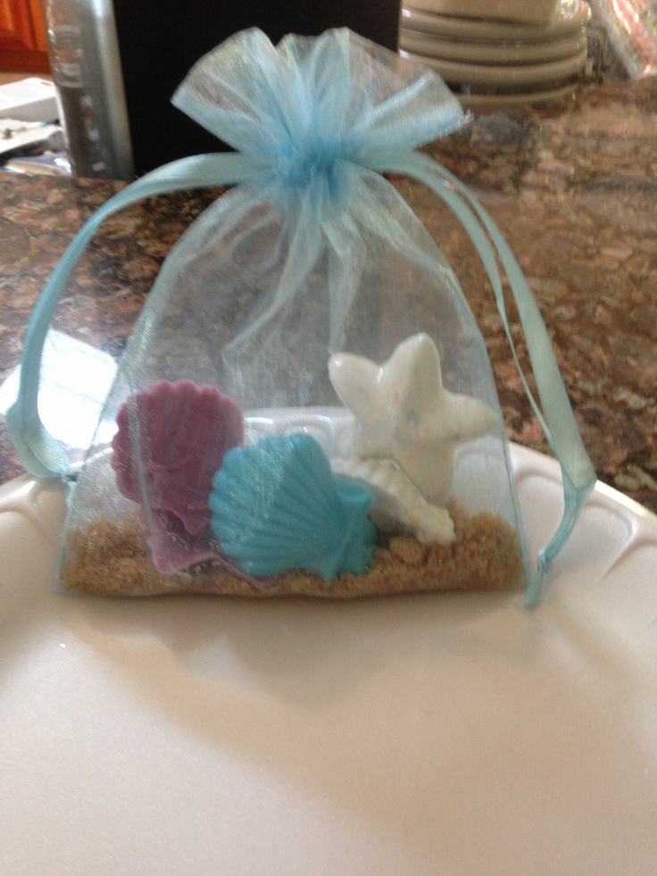 Bridal shower favors for a beach themed wedding. Chocolate shaped sea shells. Designed to look like a beach bag :))