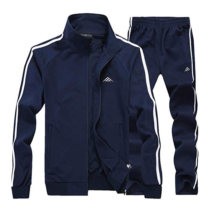 Mens Casual Tracksuit 2 Piece Set Long Sleeve Full Zip Athletic Sweatsuit Outfit Running Jogging