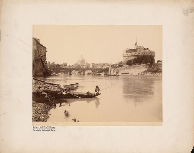 James Anderson (1813-1877) Blick über den Tiber auf den Petersdom und die Engelsburg, Rom