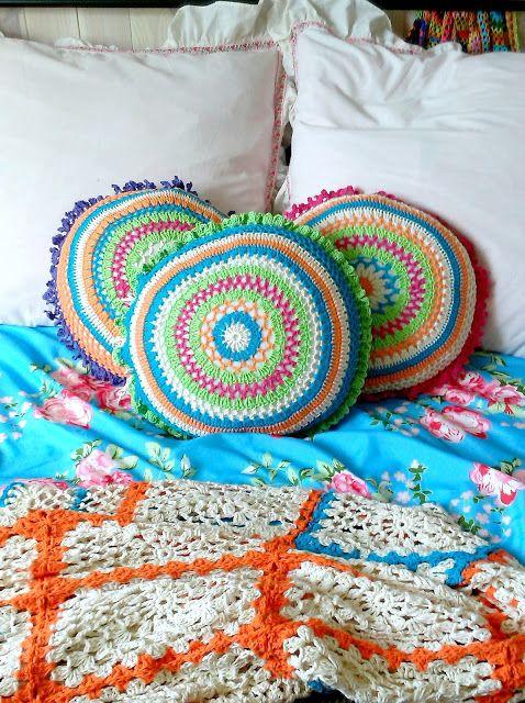 crochet boho pillows
