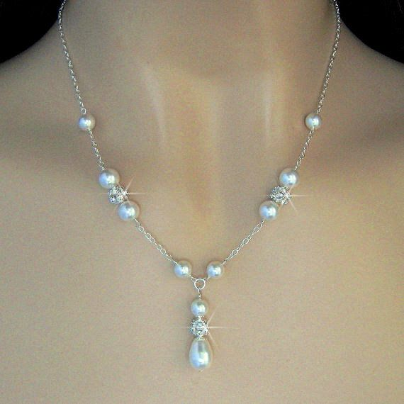 Bridal Pearl Necklace Pearl And Crystal Fireball Y Necklace Bridal Neckla