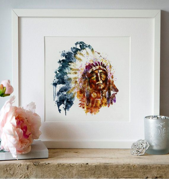 Native American Watercolor Digital painting Wall by Artsyndrome