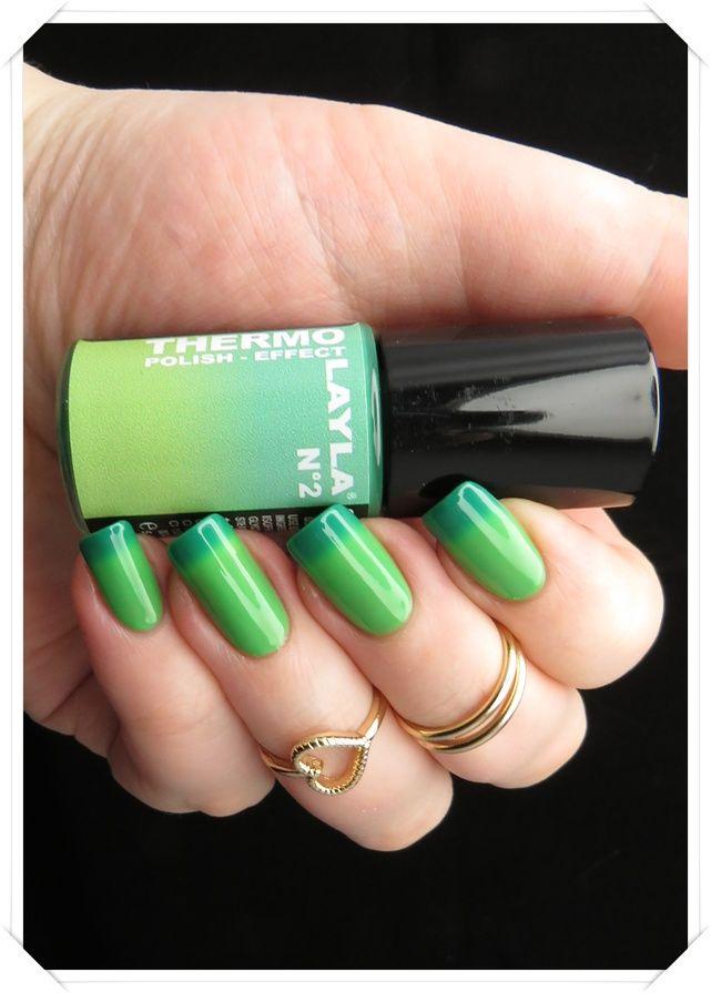 Layla Thermo Polish No. 2 Dark to Light Green | Nagellack-Junkie