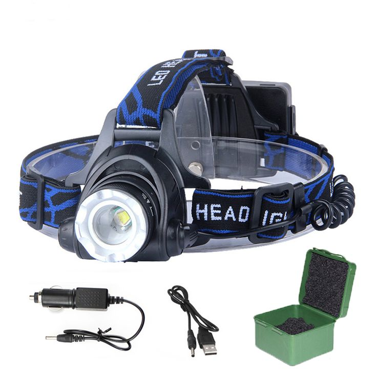 LED Headlight T6/XPE headlamp Head light lampe frontale LED torch by 2* 18650 Battery rechargeable with car charger USB line