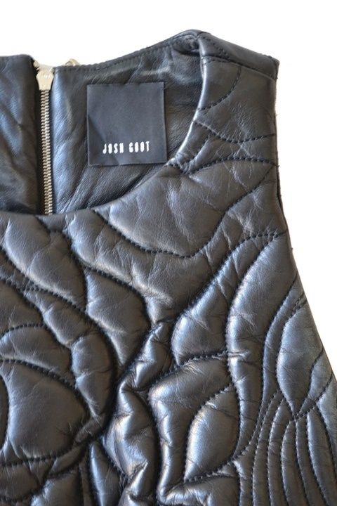 Quilted Leather Vest with padded patterns - contemporary quilting techniques; fabric manipulation; quilted fashion // Josh Goot
