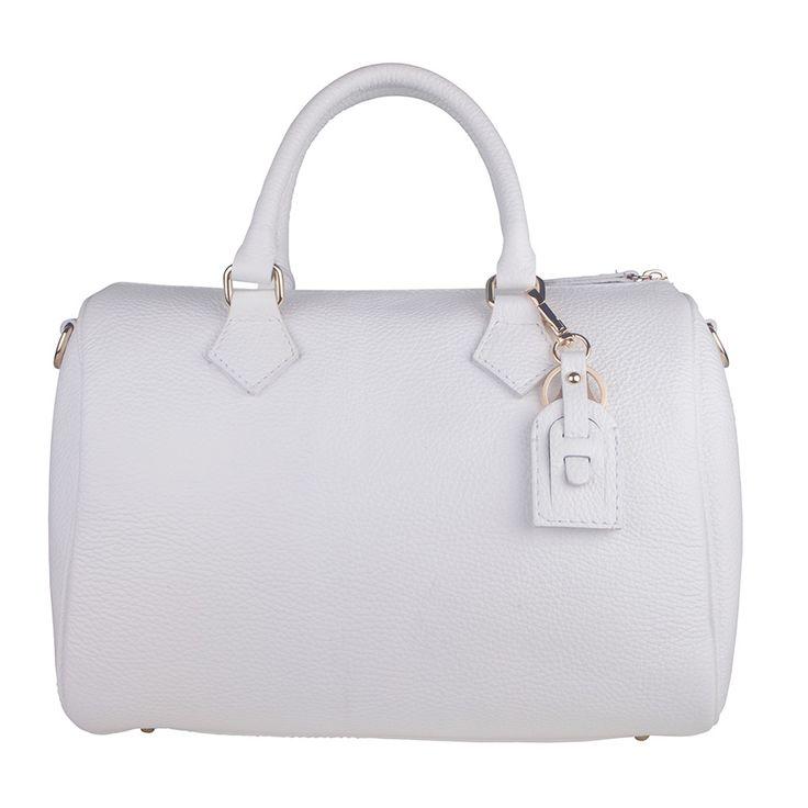 Marlafiji Christa White Italian Leather Cylinder Bag - $275.00 #leatherbag