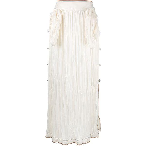 Loewe pleated midi skirt (€880) ❤ liked on Polyvore featuring skirts, white, mid-calf skirts, pleated skirt, midi skirt, pleated midi skirts and white knee length skirt