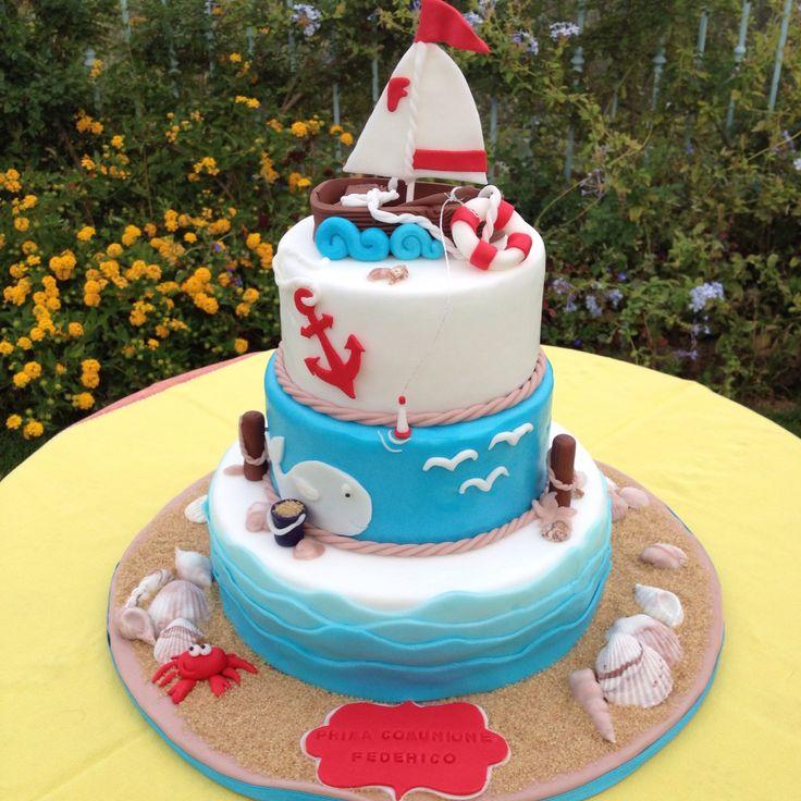 Torta prima comunione tema mare torte bambini pinterest for Decorazioni torte tema mare