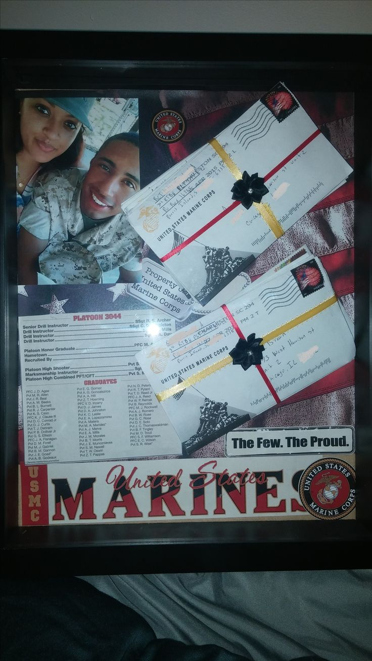 Boot camp letters from my marine. I bought a shadow box from michaels and ordered a stationary pad and here's what I created :)