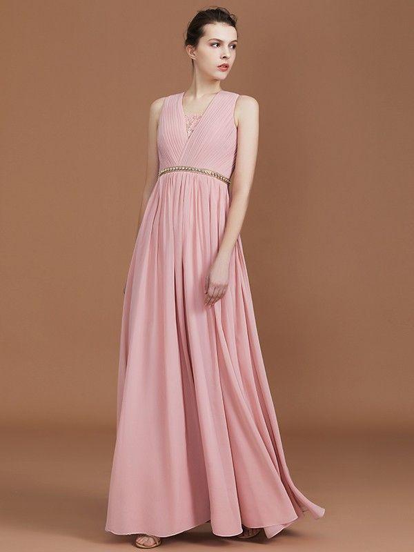 ebc341d14e6 A-Line Princess Lace Sleeveless Floor-Length Chiffon Ruched V-neck  Bridesmaid Dresses - Bridesmaid Dresses - Hebeos Online