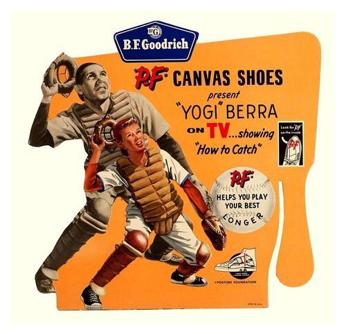 1950 S Pf Flyers Shoes Ad Featuring Yogi Berra