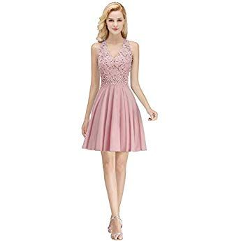 ca427856775a67 Misshow Abendkleider Pink Elegant Ballkleid Kurz Ärmellos Perlstickerei  Ballkleid Kurz Rosa