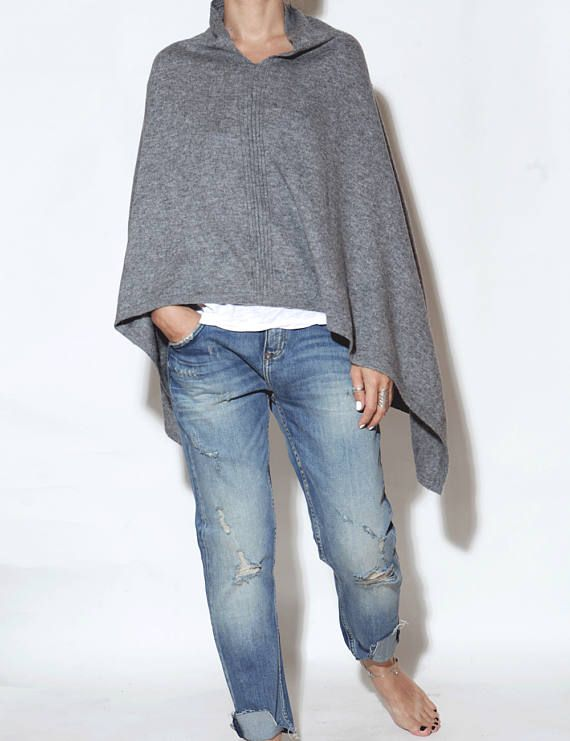 Grey cashmere poncho cashmere poncho cashmere cape knitted