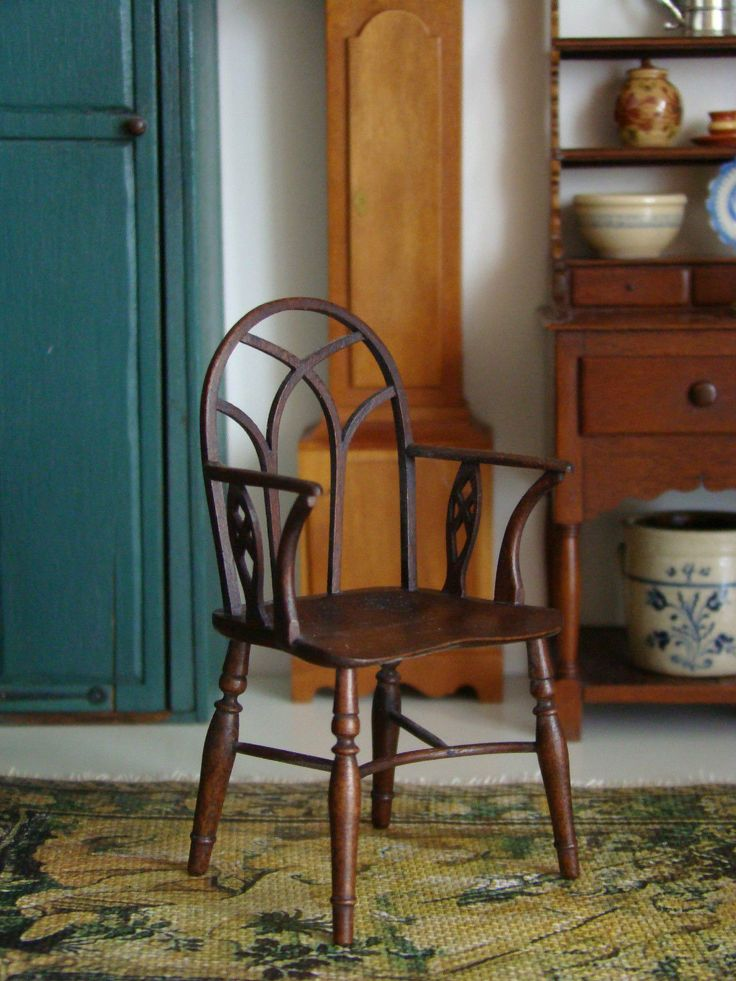 Vintage Artisan Signed Miniature Doll House Chair