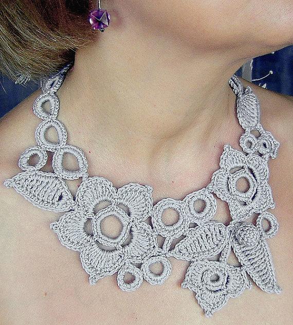 Gray  flowers crochet necklace  by agatsknitting on Etsy on Etsy