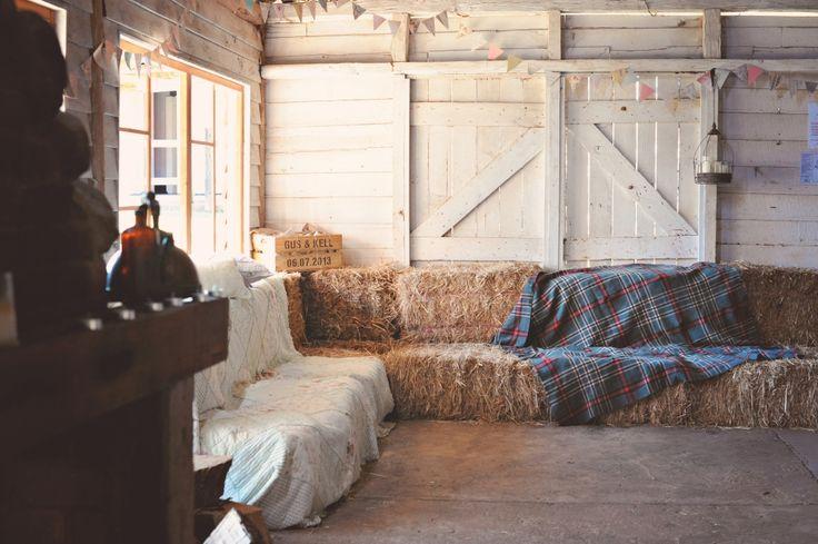 Hay seating, Rustic Barn Wedding, Kenilworth Homestead, Garrath & Kelly
